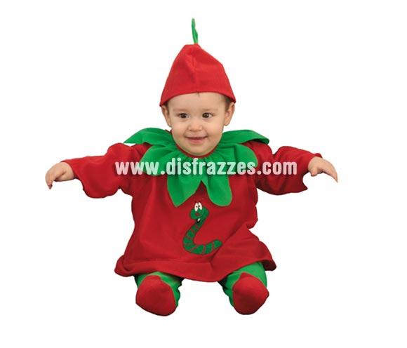 Disfraz barato de Manzanita o Manzana Bebé para Carnaval. Talla de 6 a 12 meses. Incluye gorro y body completo.