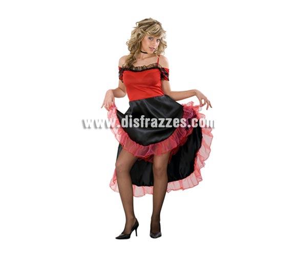 Disfraz de Mouline Rouge mujer. Talla standar M-L 38/42. Incluye vestido. También se usa como disfraz de Cabaretera o mujer de bar del Oeste. Disfraz de Can-Can para mujer.