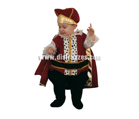 Disfraz barato de Príncipe Bebé para Carnaval. Talla de 6 a 12 meses. Incluye sombrero y mono con capa.