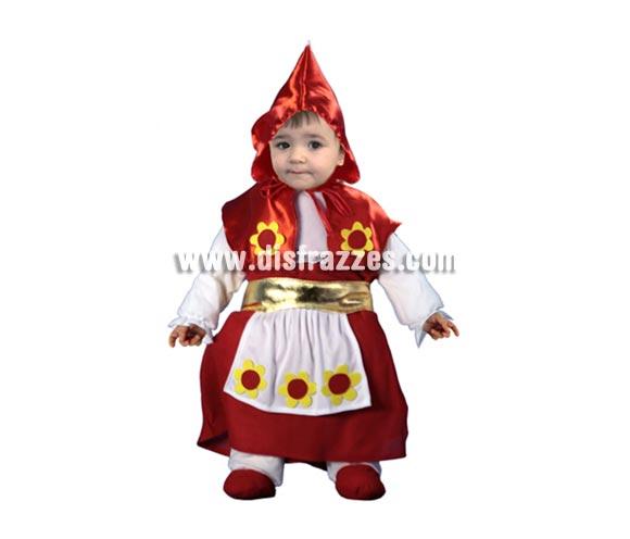 Disfraz de Caperucita Bebé barato para Carnaval. Talla de 6 a 12 meses. Incluye caperuza, body completo y cinturón delantal.