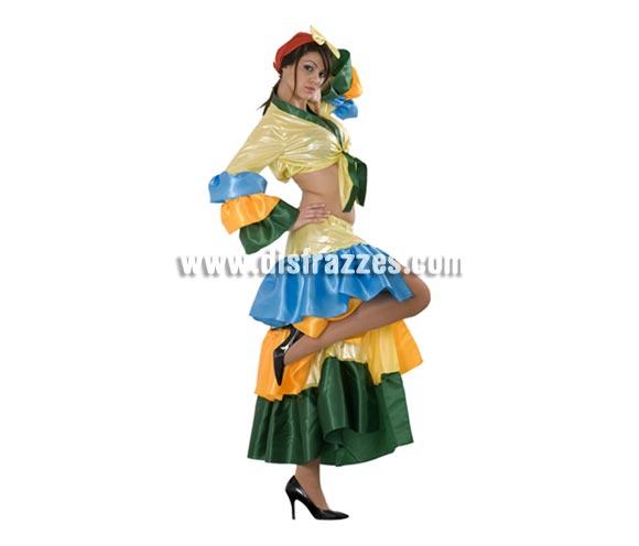 Disfraz de Salsa para mujer. Talla standar M-L = 38/42. Incluye pañuelo, camisa y falda. También sirve como disfraz de Brasileña, Caribeña o Rumbera.