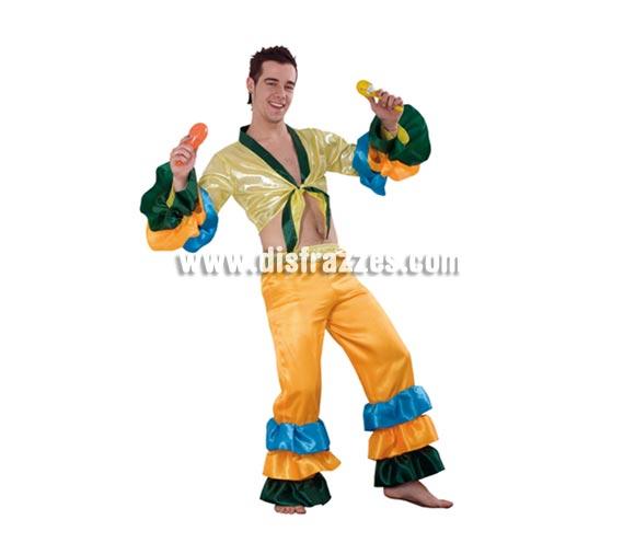 Disfraz de Salsa para hombre. Talla Standar M-L 52/54. Incluye camisa y pantalones. Maracas NO incluidas, podrás verlas en la sección de Complementos. También disfraz de Brasileño, Caribeño o Rumbero adulto.