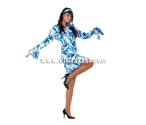 Disfraz de mujer años 70 Blanco-Azul adulta. Talla M-L. Incluye vestido y cinta de la cabeza. Un disfraz muy sexy para ir a la moda retro.