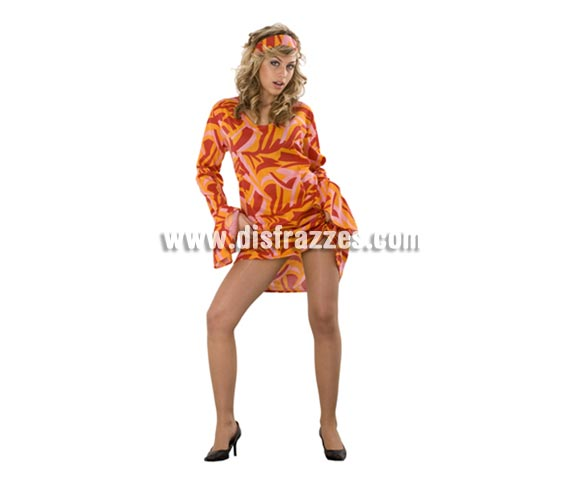 Disfraz de mujer años 70 color rojo-naranja adulta. Dos tallas. Incluye vestido y cinta de la cabeza. Un disfraz muy sexy para ir a la moda retro y perfecto para Fiestas con amigos y por supuesto para Carnaval.