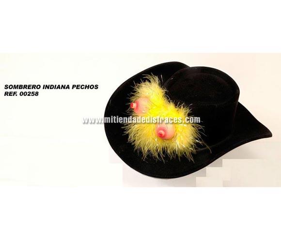 Sombrero Indiana de plástico con pechos. Perfecto para Despedidas de Soltero o Soltera.
