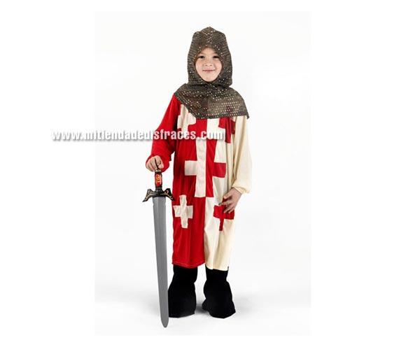 Disfraz de Caballero de las Cruzadas talla de 10 a 12 años. Incluye capucha, túnica, pantalón y botas.