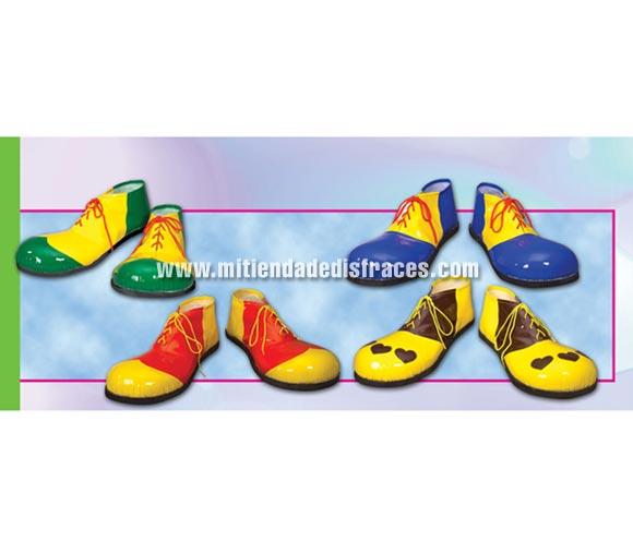 Par de Zapatos o Zapatones Payaso Hombre 37 cms. 4 colores surtidos. Precio por par, se venden por separado.