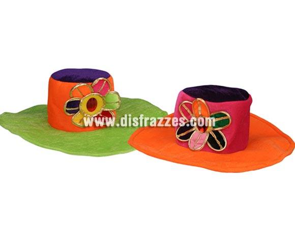 Sombrero aterciopelado Hippie de FLores para Carnaval. Talla Universal. Dos colores surtidos, precio por unidad, se venden por separado.