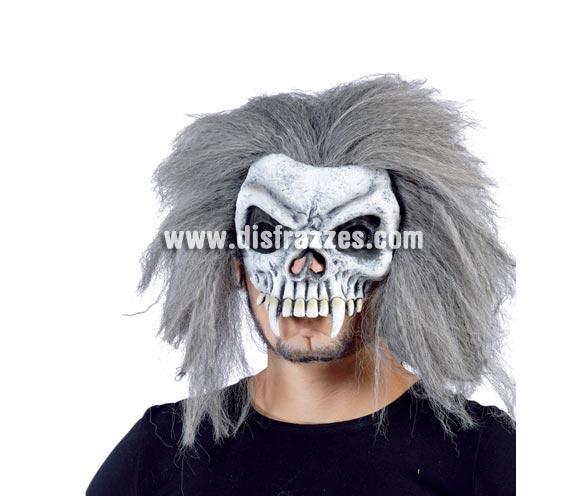 Media Careta o Máscara de Calavera con pelo gris erizado para Halloween.
