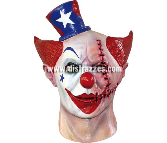 Máscara de Payaso de Circo cara cosida para Halloween. Fabricada en látex artesanalmente por una empresa que realiza efectos especiales para Hollywood. Máscara o Careta de Halloween.