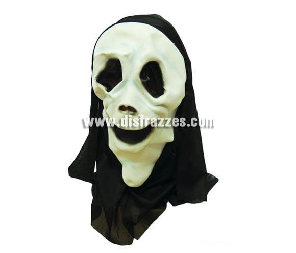 Careta o Máscara de Scream con capucha para Halloween. Precio barato. Máscara o Careta de Halloween de material blando, no es rígida.