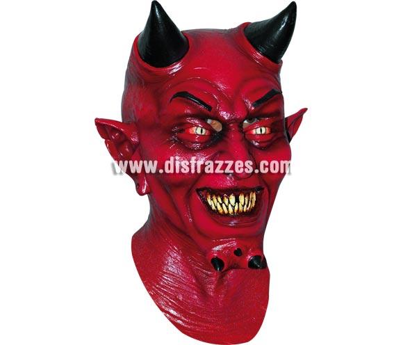 Máscara de Demonio Mammon con cuernos para Halloween. Fabricada en látex artesanalmente por una empresa que realiza efectos especiales para Hollywood. Máscara o Careta de Halloween.