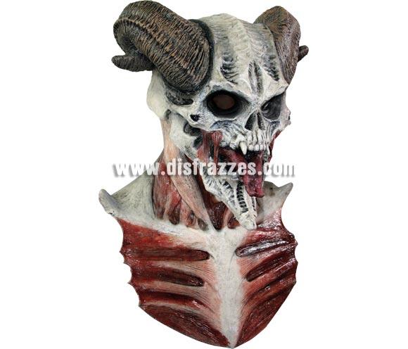 Máscara de Diablo Calavera con cuernos de cabra para Halloween. Fabricada en látex artesanalmente por una empresa que realiza efectos especiales para Hollywood. Máscara o Careta de Halloween.