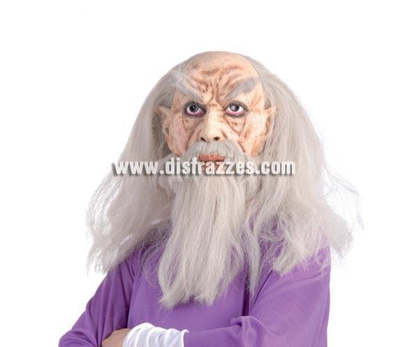 Careta o Máscara de Viejo Brujo con pelo para Halloween.