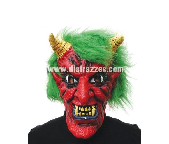 Careta o Máscara de Diablo o Demonio con pelo verde para Halloween.
