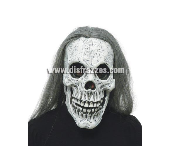 Careta o Máscara de Calavera con pelo largo para Halloween.