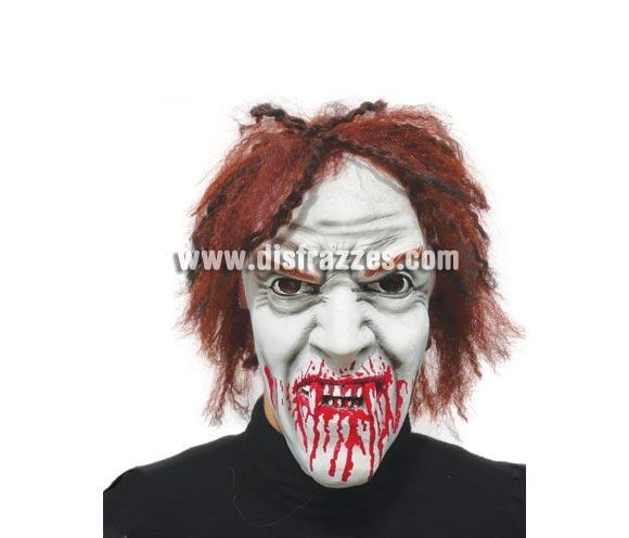 Careta o Máscara de Vampiro con pelo recién alimentado para Halloween.