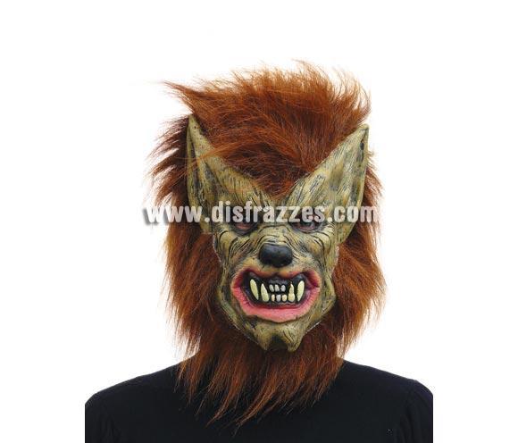 Careta o Máscara de Hombre Lobo con pelo y orejas puntiagudas para Halloween. Ésta máscara es genial para acompañar al disfraz de Thriller de Michael Jackson.