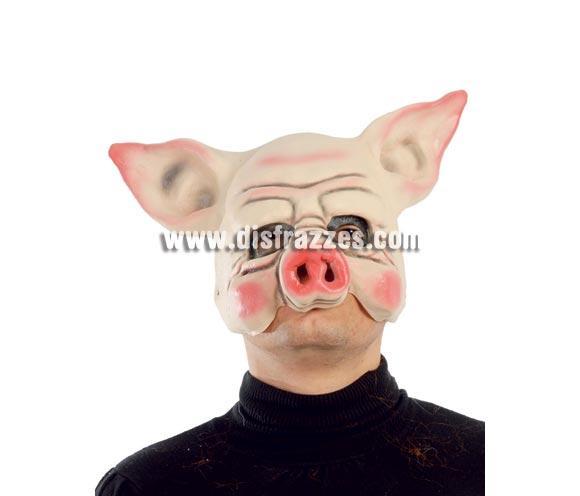 Máscara o Careta de Cerdito de media cara. Talla Universal.