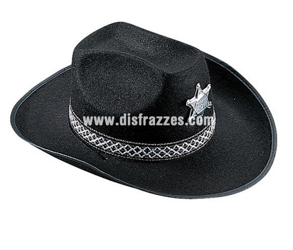 Sombrero Vaquero de fieltro con chapa de Sheriff para Carnaval. Talla universal de adultos.