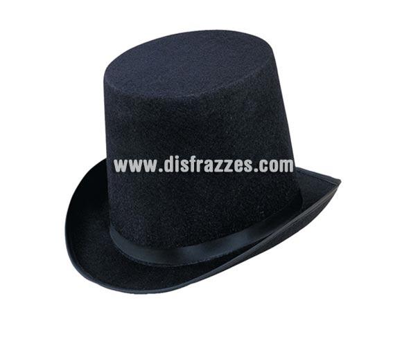 Chistera o Sombrero de Copa de fieltro negro para Carnaval. Talla universal de adultos.