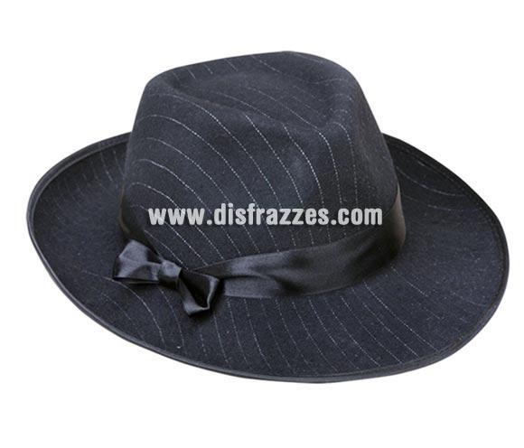 Sombrero de Ganster negro a rayas blancas adultos para Carnaval. Talla universal de adultos.