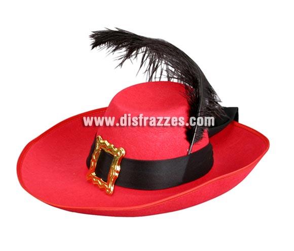 Sombrero rojo de Mosquetero con pluma niño para Carnaval. Talla universal de niños. Perfecto para disfraz de Dartañan o D'Artagnan, como dirían en Francia.