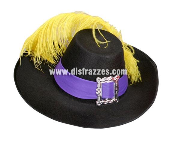 Sombrero de Mosquetero adulto de color negro con pluma para Carnaval. Talla universal de adultos. Gorro de D'Artagnan.