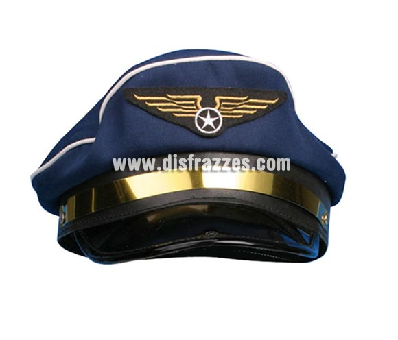 Gorra de aviador de color azul para Carnaval. Ideal como complemento de tu disfraz de Piloto.