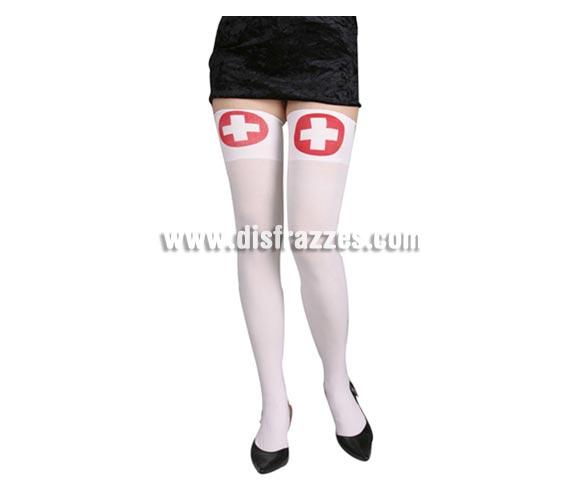 Medias liga blancas con cruces adultos. Medias de Enfermera sexy's ideal como complemento de tu disfraz.