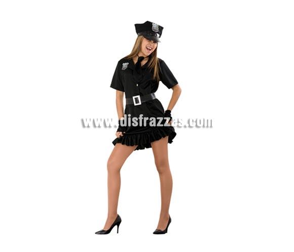 Disfraz barato de Policía Sexy para mujer. Talla standar M-L 38/42. Incluye gorra, vestido, cinturón, corbata y guantes o mitones.