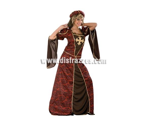 Disfraz de Cortesana para mujer. Talla standar M-L = 38/42. Incluye tocado de la cabeza, el vestido y el collar. Un disfraz excelente para Ferias Medievales.