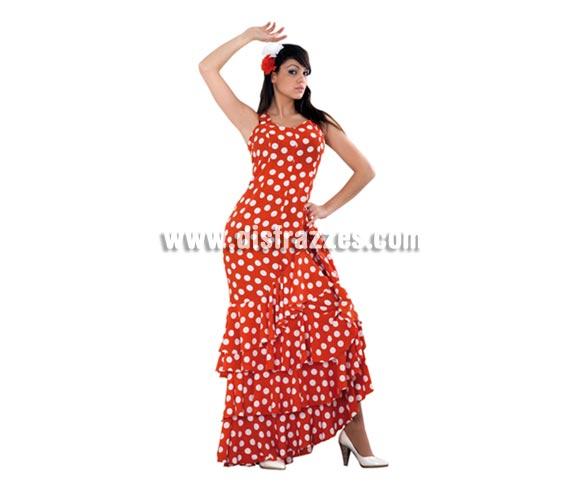 Disfraz de Flamenca rojo con lunares blancos para mujer. Talla standar M-L = 38/42. Incluye vestido. Disfraz de Sevillana o Andaluza adulta ideal para disfrazarse y para Despedidas de Soltera.