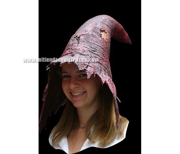 Sombrero de Bruja color rojo. Alta calidad. Fabricado en látex artesanalmente por una empresa que hace efectos especiales para Hollywood.
