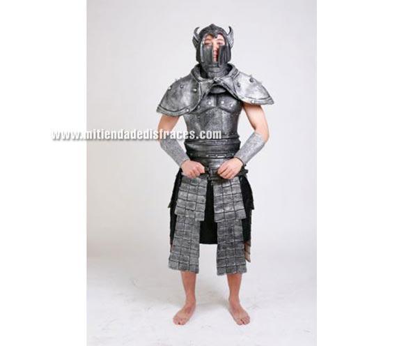 Disfraz de Señor de las Sombras adulto de látex. Alta calidad. Talla única 52/56. Incluye casco, hombreras, armadura puños, todo en látex y la falda negra es de tela.