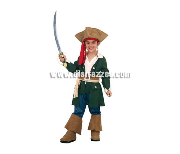 Disfraz barato de Pirata Caribeño talla de 7 a 9 años. Incluye sombrero, pecherín, chaqueta, cinturón y pantalones con botas. Espada NO incluida. Para jugar a ser Jack Sparrow.