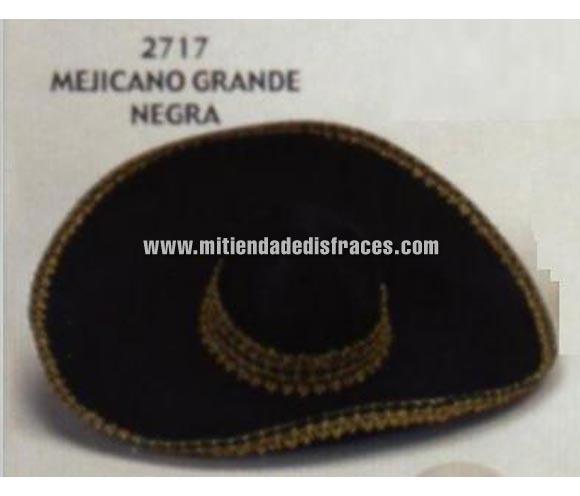 Sombrero Mejicano grande de color negro. Buena calidad, fabricado artesanalmente en España. Posibilidad de ajuste de precio para grupos.