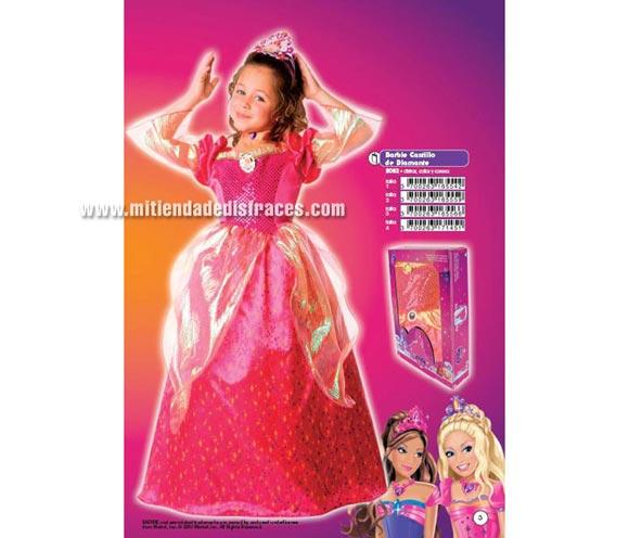 Disfraz de Barbie Castillo de Diamante. Talla de 9 a 11 años. Incluye vestido, gargantilla y corona. Disfraz ideal como regalo para Papa Noel y Reyes Magos.