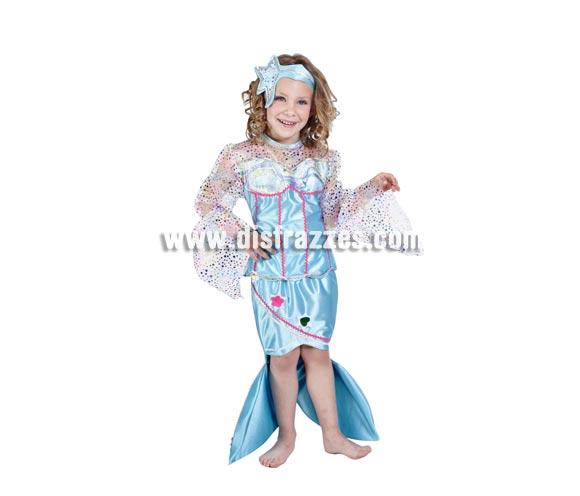 Disfraz de Sirenita infantil. Alta calidad. Hecho en España. Disponible en varias tallas. Incluye vestido y tocado.