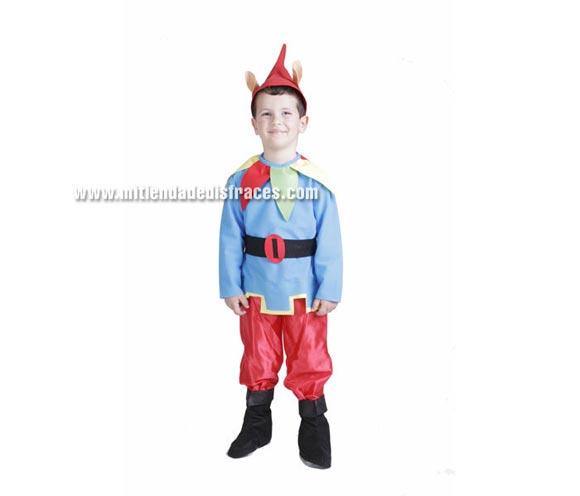 Disfraz de Enanito o Duende infantil. Alta calidad. Hecho en España. Disponible en varias tallas. Incluye gorro con orejas, camisa, cinturón, pantalón y botas de tela. Disfraz de Duende para Cabalgatas de Reyes en Navidad. Se puede confeccionar en más tallas para grupos, consultar.