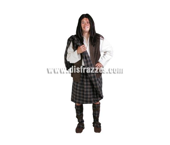 Disfraz de Guerrero Escocés adulto para Ferias Medievales o para Carnaval. Disfraz de Braveheart. Alta calidad. Hecho en España. Talla única 52/56. Peluca NO incluida, podrás verla en la sección Complementos.