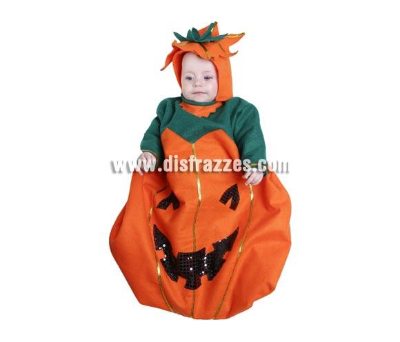 Disfraz Saquito Calabaza bebé para Halloween. Talla de 6 meses. Alta calidad. Hecho en España. Incluye saquito y capucha.