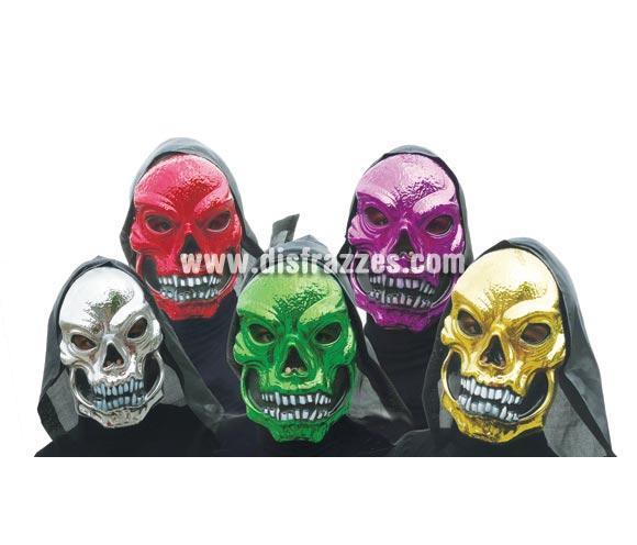 Caretas o Máscaras de Calaveras colores surtidos metalizadas para Halloween. Precio por unidad, se venden por separado.