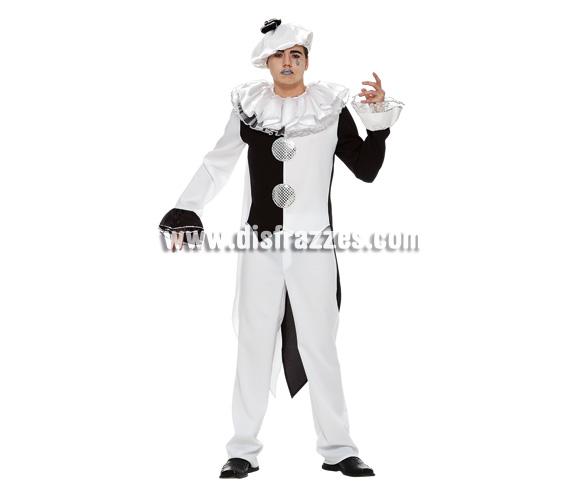 Disfraz de Pierrot para hombre. Talla 54. Incluye camisa, pantalón y sombrero.