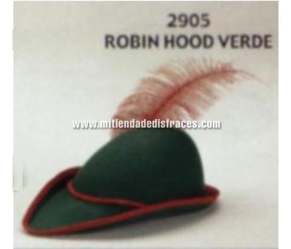 Sombrero de Robin Hood de color verde infantil. Pluma NO incluida. Buena calidad, fabricado artesanalmente en España. Posibilidad de ajuste de precio para grupos.