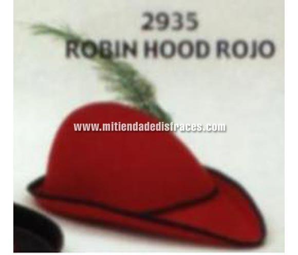 Sombrero de Robin Hood rojo infantil. Buena calidad, fabricado artesanalmente en España. Pluma NO incluida. Posibilidad de ajuste de precio para grupos.