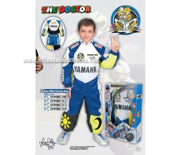 Disfraz de mono oficial de Valentino Rossi infantil. Talla de 9 a 11 años. Incluye el mono. Disfraz con licencia ideal como regalo.