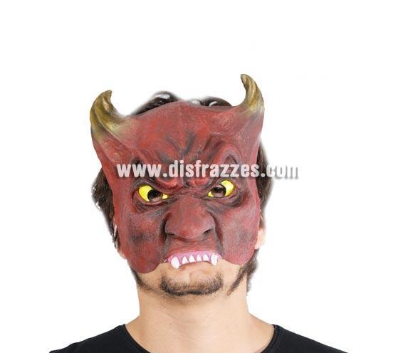 Careta o Máscara de media cara de Demonio o Diablo con cuernos para Halloween.