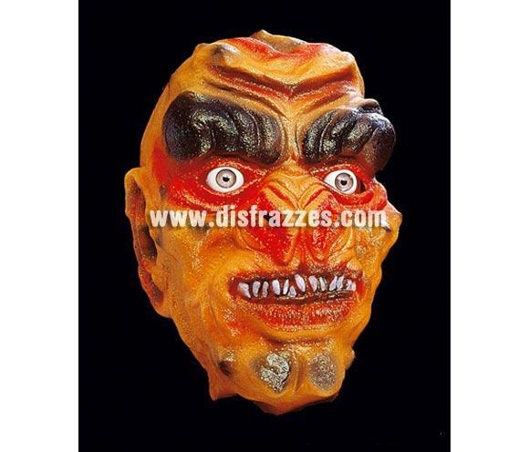 Careta o máscara de Monstruo Naranja fosforescente para Halloween.