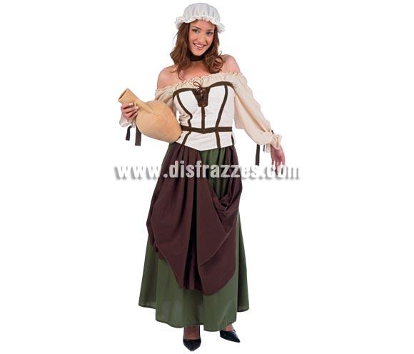 Disfraz de Tabernera Medieval Azalea adulta Deluxe. Alta calidad. Hecho en España. Disponible en varias tallas. Incluye camisa, falda, gorro, corpiño y cinta del cuello. Jarro NO incluido.